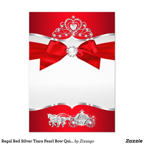 Regal Red Silver Tiara Pearl Bow Quinceanera Invitation