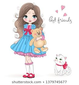 Hand Drawn Beautiful Cute Little Princess Girl With Teddy Bear And