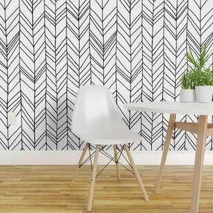 Mercer41 Omara Geometric Chevron Removable Peel And Stick Wallpaper Roll Wayfair Peel And Stick Wallpaper Wallpaper Panels Chevron Wallpaper