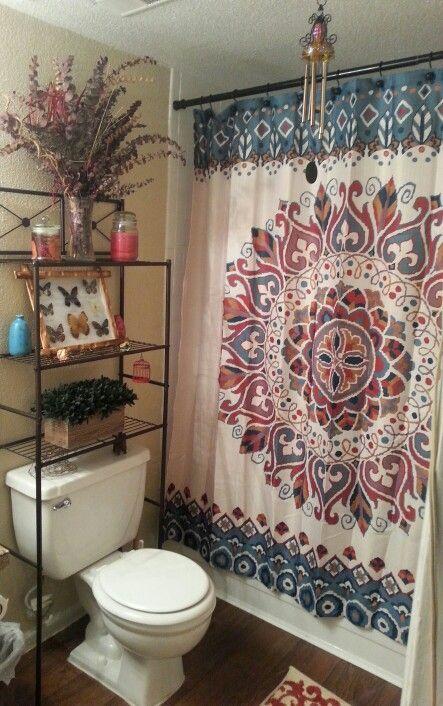 Hippie Bohemian Bathroom In Small Apartment Bohemian Bathroom