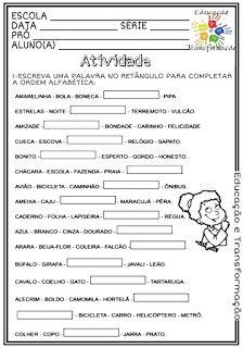 Atividades Escolares Ordem Alfabetica Com Imagens Atividades