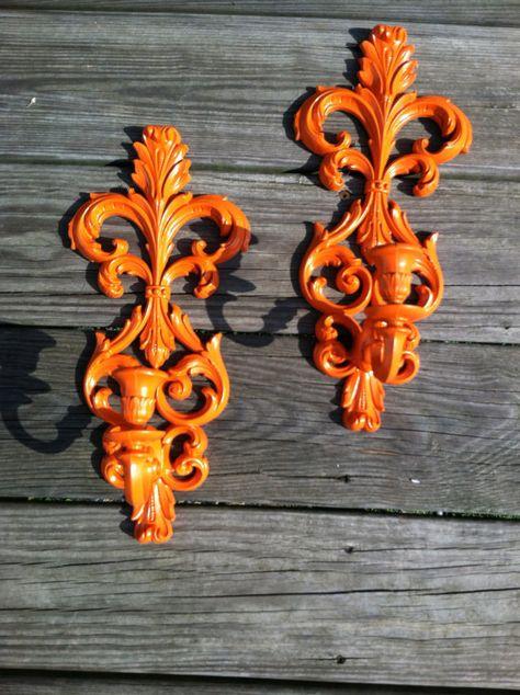 Orange Kitsch Sconces Funky Decor Burwood Wall by FUNKIEFUN, $26.00
