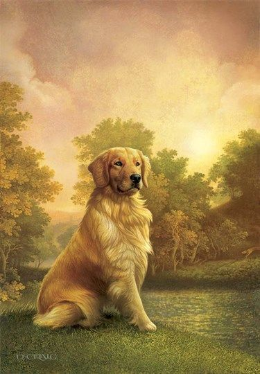 Dan Craig Darkest Evening Golden Retriever Art Dog Paintings
