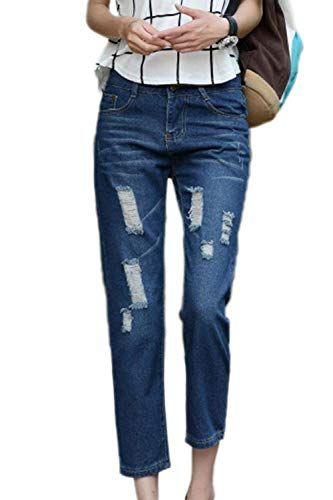Rasgados Pantalones De Delanteros Mezclilla DHEIW29Y