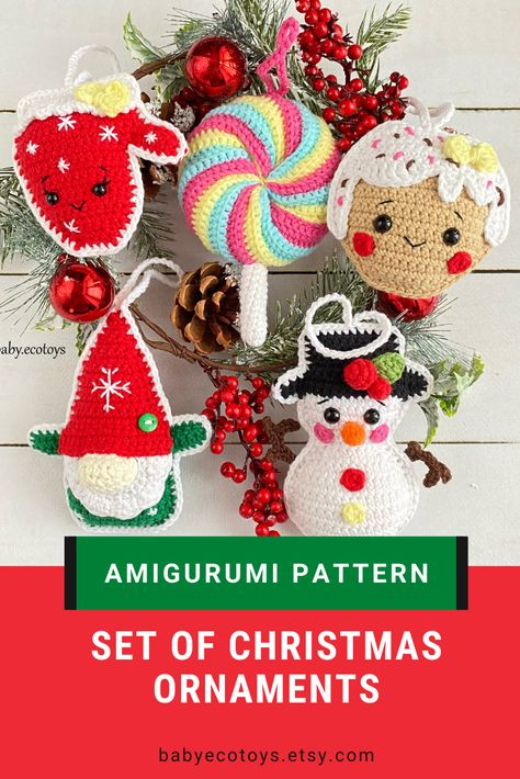 Christmas Gingerbread man Christmas decorations mini christmas tree . Crochet snowman tree ornament