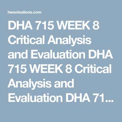 DHA 715 WEEK 2 Root Cause Analysis (RCA) of Case Study DHA 715 - critical analysis