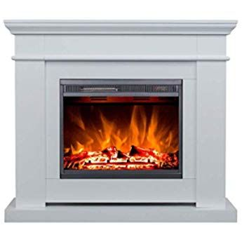 Richen Mt119c Ef119b Electric Fireplace With Heating Led Lighting 3d Flame Effect And Remote Control White Amazon De Baumark Elektrokamin Fernbedienung Kamin