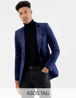 grande vendita fd1c6 95cdb ASOS DESIGN Tall - Blazer skinny in velluto blu navy | Abiti uomo ...