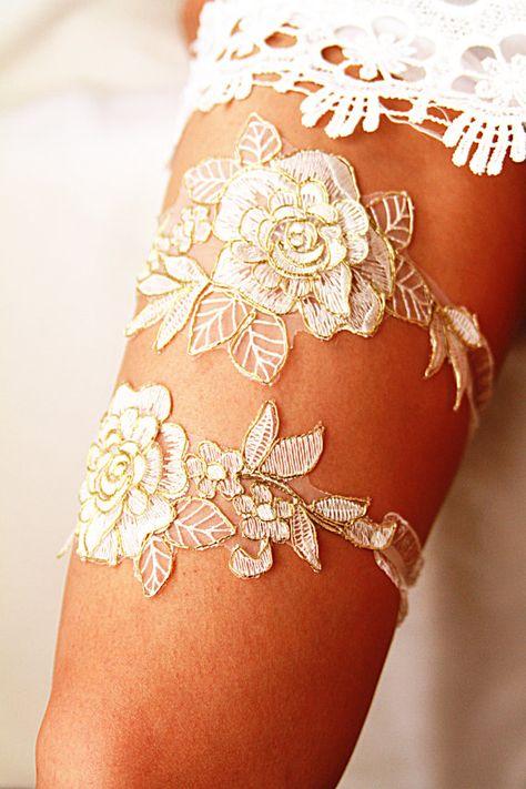 Bridal Garter Set - Wedding Garter Set - Gold Ivory Lace Garters Wedding Garters - Rose Lace Garter Belt - Rustic Garter Boho Garter Vintage Inspired Garters by NAFEstudio