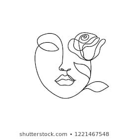 Abstract Face One Line Drawing Portrait Stock Vector Royalty Free