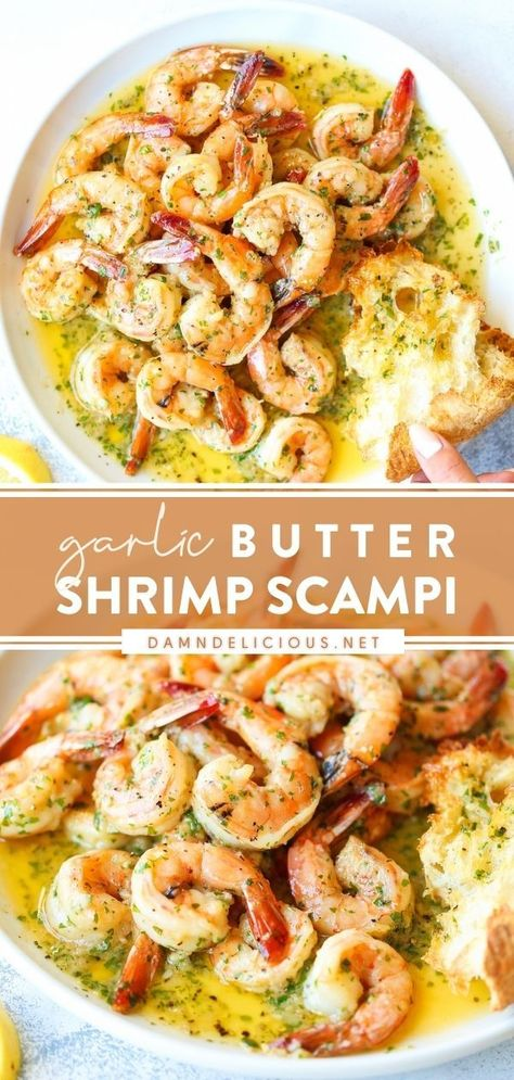 Say hello to the BEST Shrimp Scampi! Be sure to serve it with a side of crusty bread. With a to-die-for garlic butter sauce, not a single drop should be left behind. Find yourself making this easy dinner recipe again and again — you only need 20 minutes! Save this pin!