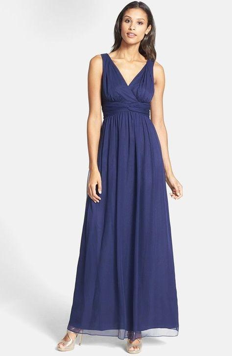 Donna Morgan Julie Royal Blue SILK Chiffon Long Gown Maxi Party Dress Size 10,16