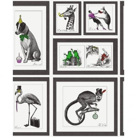 BLACK WHITE VINTAGE DOGS IN FRAMES STAGS /& PUPPIES DESIGNER WALLPAPER J59309