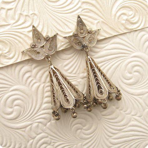 Silver Filigree Bell Earrings Vintage E5121 by PurpleDaisyJewelry, $28.00