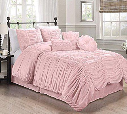 b7ef86a24b83e Amazon.com: Chezmoi Collection 7-piece Chic Ruched Comforter Set ...