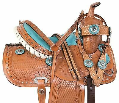 """10/"""" New Western Leather Youth Child Horse Pony Ranch Buck Stiched Saddle"""