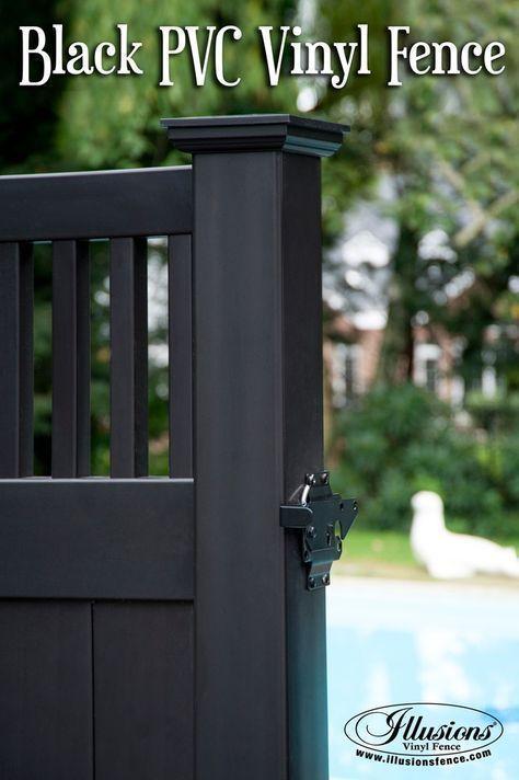 Black Pvc Vinyl Fence In 2020 Backyard Fences Vinyl Fence Vinyl Privacy Fence