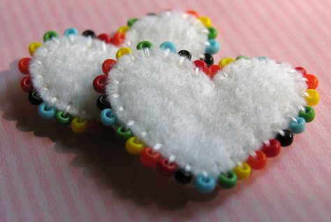 Tiny Embroidered and Beaded Heart Beads Felt Christmas Decorations, Felt Christmas Ornaments, Felt Embroidery, Felt Applique, Fabric Crafts, Sewing Crafts, Felted Wool Crafts, Heart Crafts, Felt Patterns