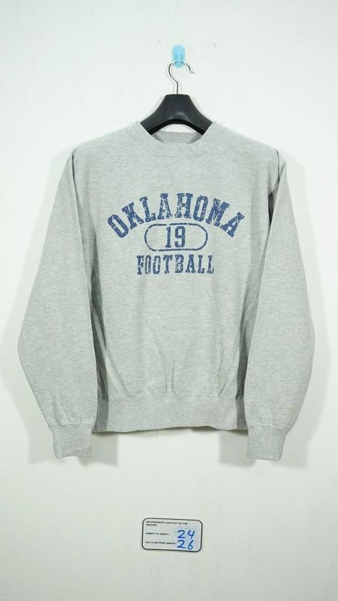 Oklahoma Embossed Sweatshirt Vintage 90/'s Brown Women/'s Large Crew Neck Farm Made in USA