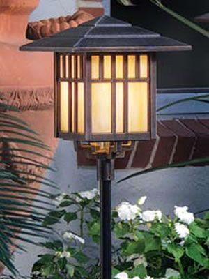 Art Deco And Mission Style Path Lights Landscape
