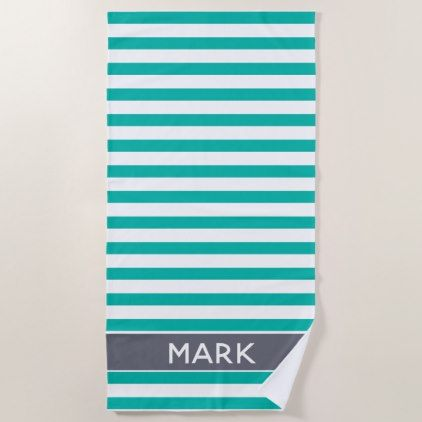 Personalized Gray Green And White Cabana Stripe Beach Towel