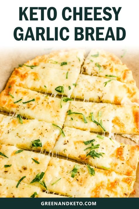 This amazingly east keto cheesy garlic bread will satisfy your cravings for Italian-style breadsticks. You'll love this buttery keto garlic bread made with low-carb mozzarella dough. It's so delicious, it's hard to believe that is gluten-free and keto-fri Garlic Cheese Bread, Cheesy Garlic Bread, Keto Cheese, Healthy Garlic Bread, Gluten Free Garlic Bread, Cheese Food, Cheese Plates, Low Carb Keto, Low Carb Recipes