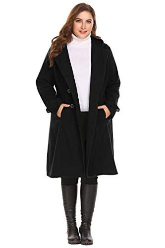 0ff9bfb8479 Zeagoo Women Plus Size Double Breasted Wool Elegant Long Lined Trench Coat  Black 16W