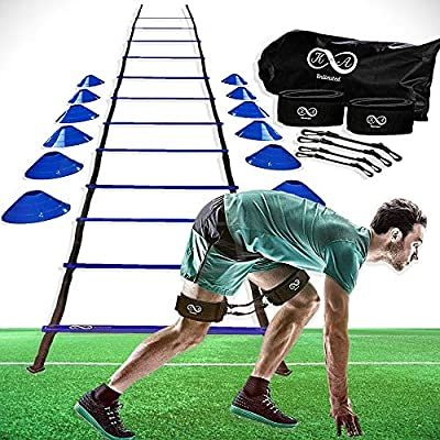 Amazon Com K A Unlimited Speed And Agility Training Equipment Set Ladder Cones Pegs Leg Resi In 2020 Agility Training Resistance Bands Legs Training Equipment
