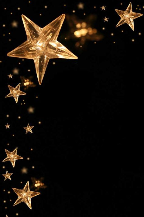 Glowing star shaped lights on a black background. Wallpaper