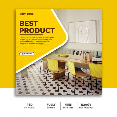 Social Media Banner Template Instagram, Furniture Luxury Best Yellow