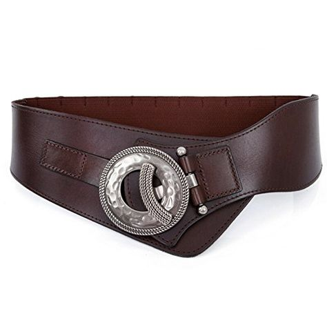 New Women Champagne Soft Wide Faux Leather Long Fashion Belt Gold Buckle Hot S M