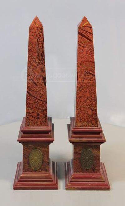 A Pair Of Faux Marble Obelisks