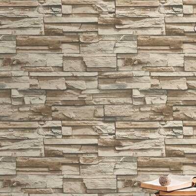 9 X 9 Pvc Peel Stick Mosaic Tile In Brown Cream Peel And Stick Wallpaper Stacked Stone Brick Wallpaper Roll