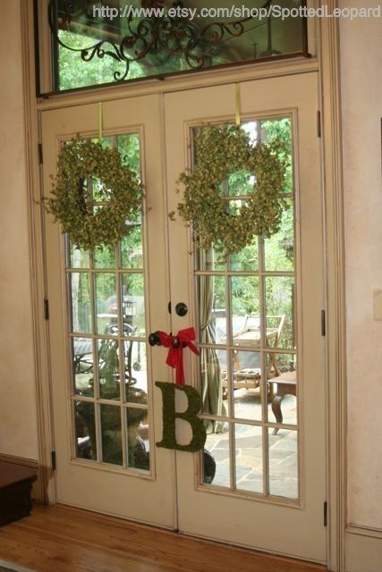 Country French Moss Covered Monogram 12 Inch Initial Wedding Door Wreath French Door Decor French Doors Interior French Doors