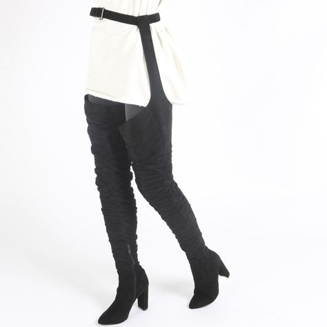 4db569538ac1 Dolly Belted Over The Knee Boots in Black Faux Suede