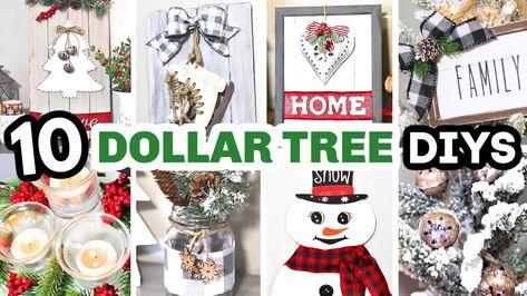 10 Dollar Tree CHRISTMAS DIYS   DIY Dollar Tree Farmhouse Christmas Decor 2020   Krafts by Katelyn - YouTube