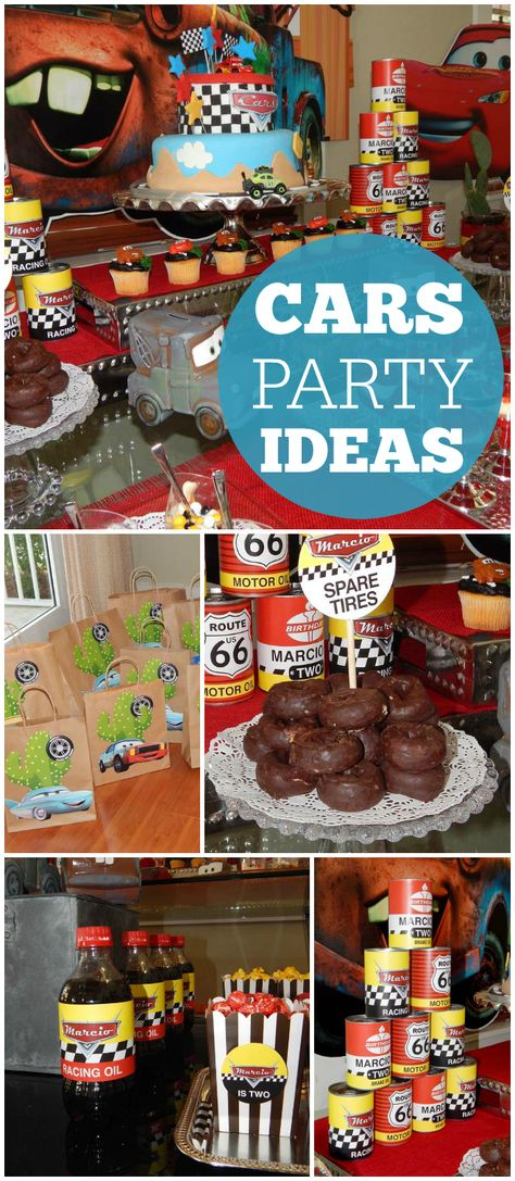 A Disney's Cars boy birthday party with spare tire donuts and Coca Cola racing oil! See more party planning ideas at CatchMyParty.com!