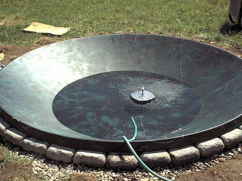 Satellite dish turned pond - GREAT IDEA!!!