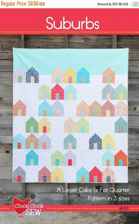 Verkauf Cluck Cluck Sew Vororte Häuser Quilt Pattern - Layer Cake oder Fat Quarter-Muster in 3 Größen