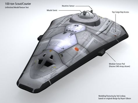 Traveller Scout Ship. Best iteration I've seen of this classic sci fi RPG vessel from my youth....