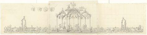 Tafelversiering bij de gouden bruiloft van burgermeester Gerrit Hooft, 1757, David Kock, 1757.