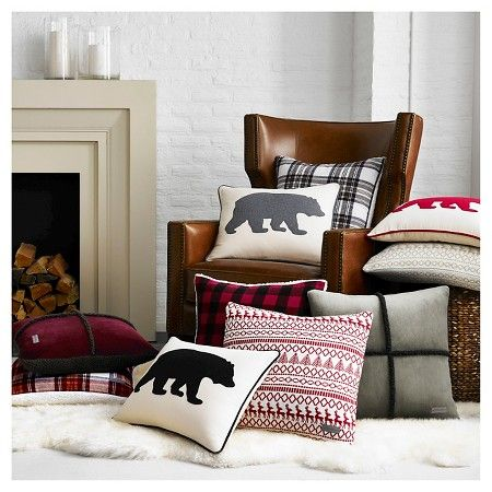 Cabin Plaid Flannel Sherpa Throw Pillow