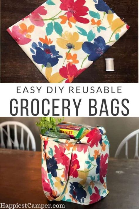 DIY Foldable Reusable Grocery Bags Easy DIY Foldable Reusable Grocery Bags These are so simple to make Reduce plastic waste and sew your own Reusable Grocery Bags Simple sewing project Diy Sewing Projects, Sewing Projects For Beginners, Sewing Hacks, Sewing Tutorials, Sewing Crafts, Sewing Tips, Bags Sewing, Diy Gifts Sewing, Sew Gifts