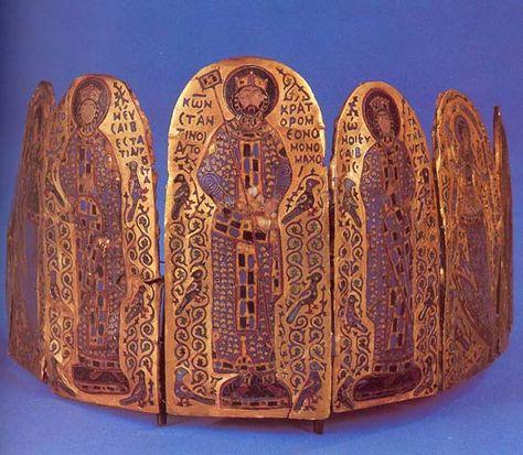 Crown of Byzatine Emperor Constantine IX Monomachus. 1042-1050, Bronze, cloisonne enamel,  Hungarian National Museum, Budapest