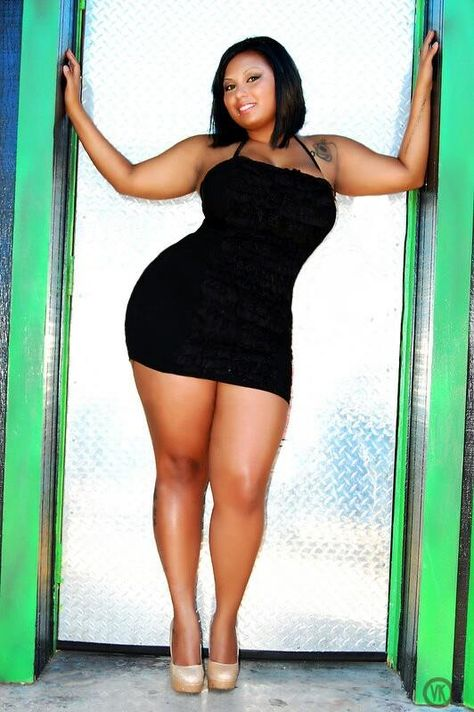 Curvy Plus Sized Model in Little Black Dress