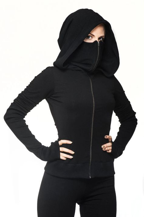 Aramaki Hood - ᴇᴍᴍᴀ - Aramaki Hood Lenzing Modal Gothic Eco-Hoodie with extended collar and fitted waist made by Ritual. Hand-crafted by artisanal tailors out of sustainable modal farnbr -