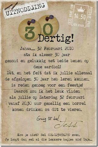 gedicht 30 jaar Uitnodiging Verjaardag 30 Jaar Tekst   ARCHIDEV gedicht 30 jaar
