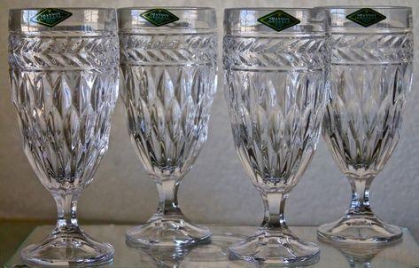 set of 4 SHANNON CRYSTAL ICED TEA GOBLETS