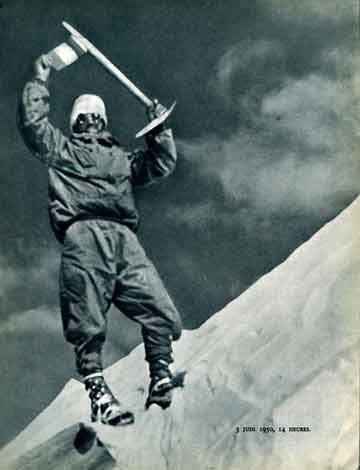 Annapurna First Ascent - Frenchman Maurice Herzog On Annapurna Summit on June 3, 1950 without oxygen.
