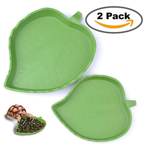 2 Pack Leaf Reptile Food And Water Bowl For Pet Aquarium Ornament Terrarium Dish